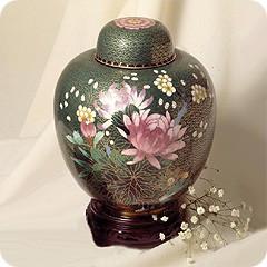 Green Hue Cloisonne Cremation Urn