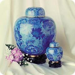 Blue Copper Cloisonne Cremation Urn