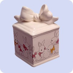 Ceramic Box & Bunnies Cremation Urn