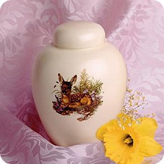 Ceramic Fawn Meadow Cremation Urn