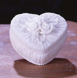 Small Heart White Marble Keepsake Urn