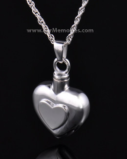 Sterling Silver Double Heart Cremation Urn Keepsake