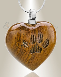 Forever Collection Large Wood Heart with Paws Urn Pendant