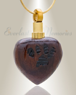 Forever Collection Wood Heart with Paws Urn Pendant