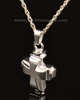 14k White Gold Classic Cross Cremation Keepsake
