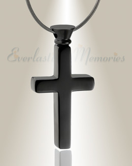 Forever Collection Black Remembrance Cross Locket Necklace