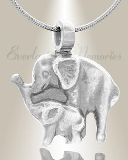 Forever Collection Silver Elephant Duo Locket Necklace