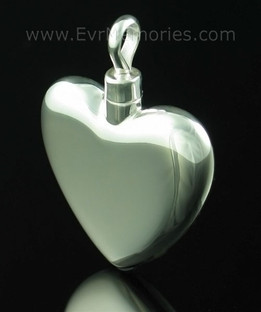 Sterling Silver Large Heart Cremation Urn Keepsake