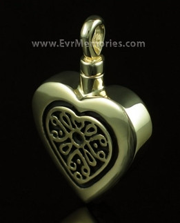 14K Gold Heart with Antique Silver Insert Memorial Locket