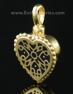 Gold Vermiel Filigree Heart Cremation Keepsake