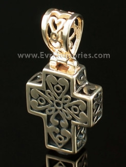 14K Gold Filigree Cross Memorial Locket