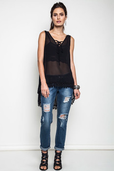 C6930 UMGEE Bohemian Cowgirl Sunny Days Tank Black