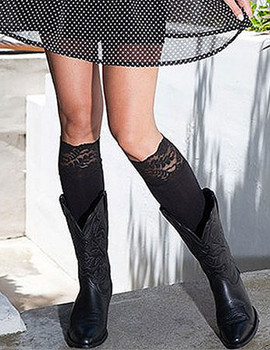 BOOTIGHTS Lacie Lace Darby Knee High/Ankle Socks Jet Black