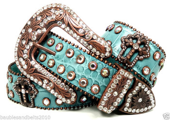 37. B&B COWGIRL WESTERN TURQUOISE CROSS EMBOSSED LEATHER BELT