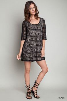 A1546 UMGEE Bohemian Cowgirl A-Line Lace Dress (Lined) Black
