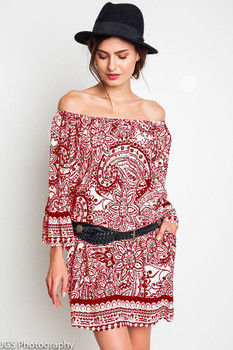 A1025 UMGEE Bohemian Cowgirl Paisley Day Dress Red