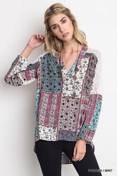 L4058 UMGEE Bohemian Cowgirl Floral Print Patch Work Blouse