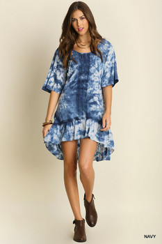 A2100 UMGEE Bohemian Cowgirl Tie Dye Peasant Dress Navy