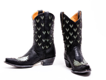 L1641-3-SS OLD GRINGO LITTLE EAGLE INLAY BLACK AQUA BOOTS