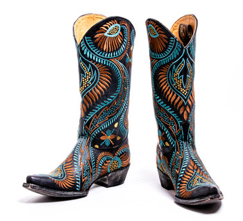 L1371-5-SS OLD GRINGO TIEGAN MULTI COLOR LEATHER BOOTS