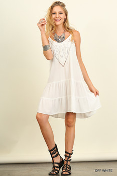 G0121 UMGEE Bohemian Cowgirl V-neck line Dress Off White