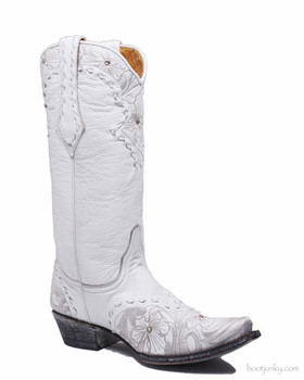 "L1781-2 OLD GRINGO ERIN DISTRESSED WHITE CRYSTAL 13"" WEDDING BOOTS"