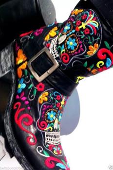L1385-1 Old Gringo Sugar Skull Klak Biker Multi Ankle Biker Boots CUSTOM ORDER
