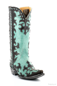 "L1414-4-SS OLD GRINGO WIDOW MAKER 13"" CHOCOLATE/AQUA COWGIRL BOOTS"
