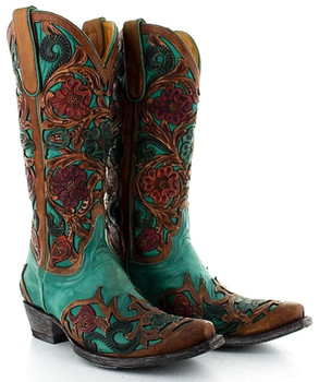 L2408-4 OLD GRINGO ABELINA TURQUOISE BROWN FLORAL HAND TOOLED WESTERN BOOTS