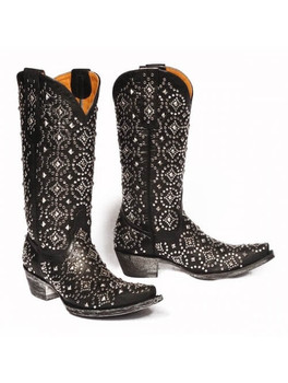 "L2006-2 OLD GRINGO DIFAMA BLACK STUDDED 13"" LEATHER BOOTS"