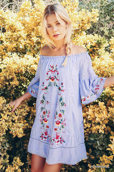 A2856 UMGEE Bohemian Cowgirl Off Shoulder Dress with Floral Embroidery Details Periwinkle