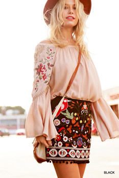 C0107 UMGEE Bohemian Cowgirl High Waist Floral Embroidered Skirt with Pom Pom Trim