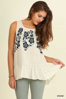 H2282 UMGEE Off Shoulder Cream Blue Top with Embroidered Details