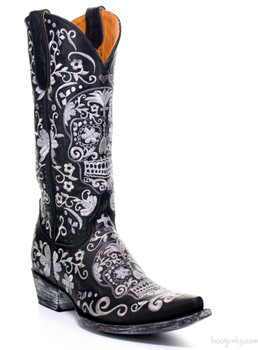 "L1300-18 OLD GRINGO SUGAR SKULL KLAK BLACK SILVER EMBROIDERY 13"" LEATHER BOOTS"