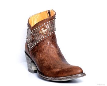 BL1446- 4 Gorgeous Old Gringo Clovis Vesuvio Brass Leather Ankle Boots