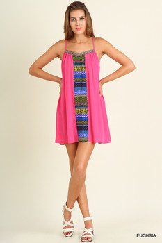 A2471 UMGEE Bohemian Cowgirl Sleeveless Dress with Tassle Tie Details Fuchsia Mix