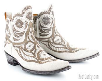 BL2775-1 OLD GRINGO VALENTINE DION DISTRESSED WHITE TAUPE ANKLE BOOTS