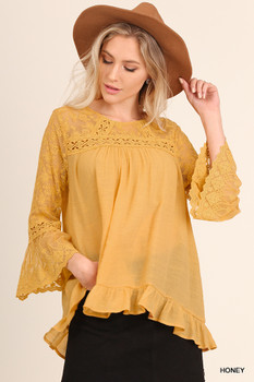 C0331 UMGEE Bohemian Cowgirl Bell Sleeve Top with Lace Detail Honey