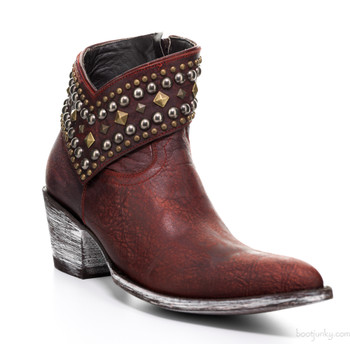 L 992-17 Old Gringo Mini Belinda Blood Red Leather Studded Ankle Boots
