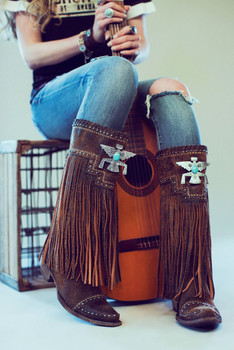 DDL014-1 Double D Ranch Thunderbeing Distressed Brown Fringe Boots