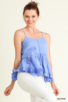 G0236 UMGEE Bohemian Cowgirl Sleeveless Babydoll Top with Ruffled Hemline Dolphin