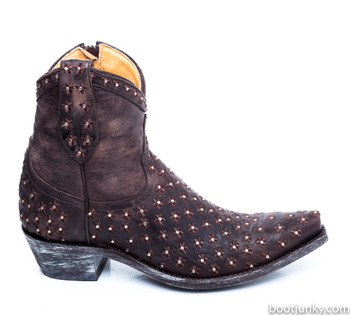 "L1122-12-SS OLD GRINGO FLOR FELIZ 7"" WOMENS CHOCOLATE BOOTS"