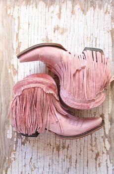 JG0007G Junk Gypsy Spitfire Rose Pink Fringe Ankle Boots