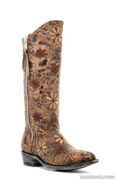 L 543-1 OLD GRINGO LADANE RAZZ CHOCOLATE BROWN FLORAL EMBROIDERED BOOTS