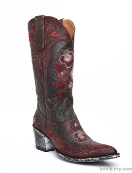 L2621-1 OLD GRINGO PANSY CHOCOLATE RED EMBROIDERED COWGIRL BOOTS