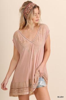 G0757 UMGEE Bohemian Cowgirl Short Sleeve V-Neck Tunic Blush