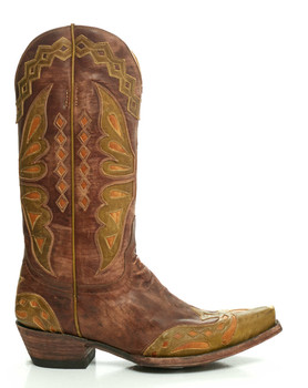 """L 026-41-SS OLD GRINGO MONARCA 12"""" BRASS / MILITARY GREEN COWGIRL BOOTS"""