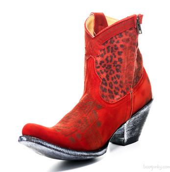 "YL 250-3 OLD GRINGO YIPPEE KI YAY ATENEA 7"" RAD RED ANKLE BOOTS"