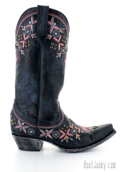 "YL 261-2 Alameda Navy Multi Floral Embroidered 13"" Leather Boots"