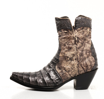 BL1024-4-SS Old Gringo Pewter / Chocolate Caiman Cowgirl Ankle Boots